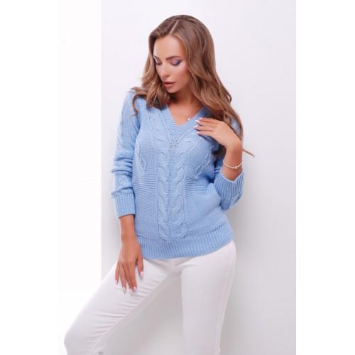 Джемпер жіночий з трикутним вирізом і візерунком косичка голубого кольору