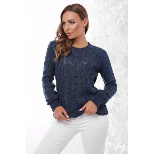 Светр жіночий в'язаний однотонний без горла на кожен день кольору джинс