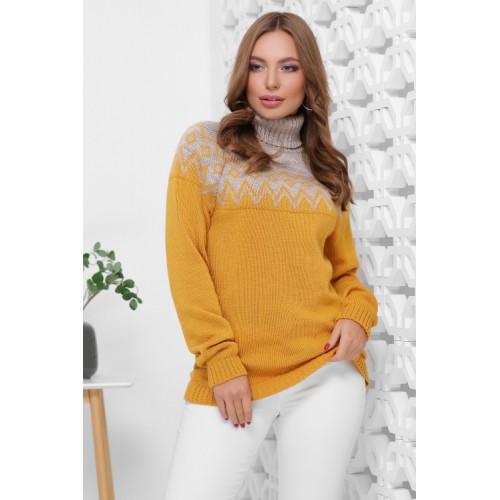 Жіночий светр з горлом і орнаментом капучино-горчічний