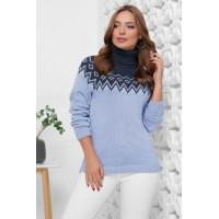Жіночий светр з горлом і орнаментом голубий