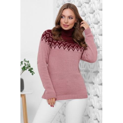 Жіночий светр з горлом і орнаментом марсала з рожевим