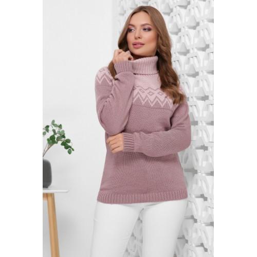 Жіночий светр з горлом і орнаментом фрезовий