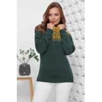 Жіночий светр з горлом і орнаментом ізумрудний