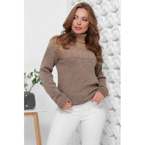 Жіночий светр з горлом і орнаментом бежево-кофейний