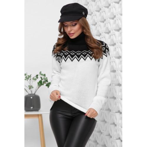 Жіночий светр з горлом і орнаментом чорно-білий