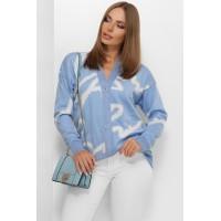Жіноча кофта тепла на ґудзиках осінь 2021 колір блакитний
