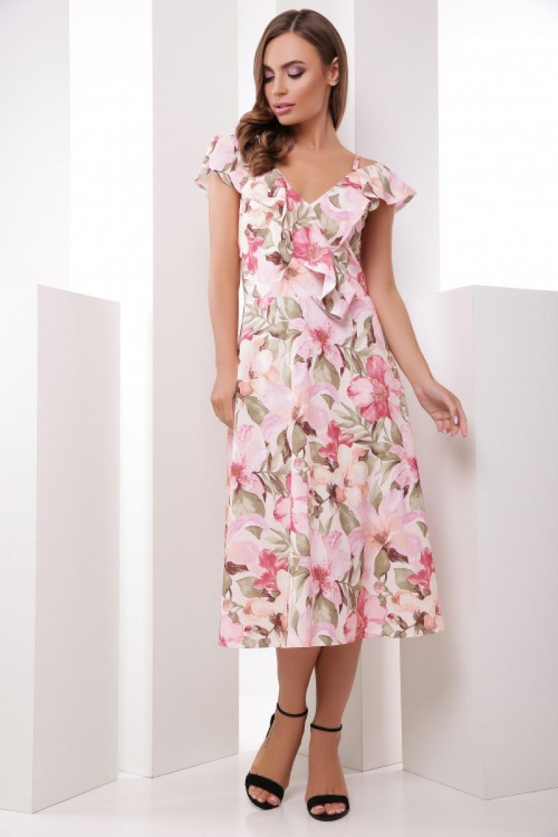 Літнє плаття жіноче красивого кольору на бретелях в квіти рожеве