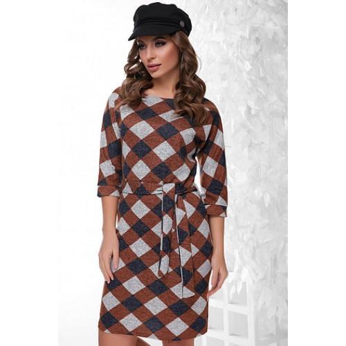 Сукня жіноча осінь зима коричневий ромб