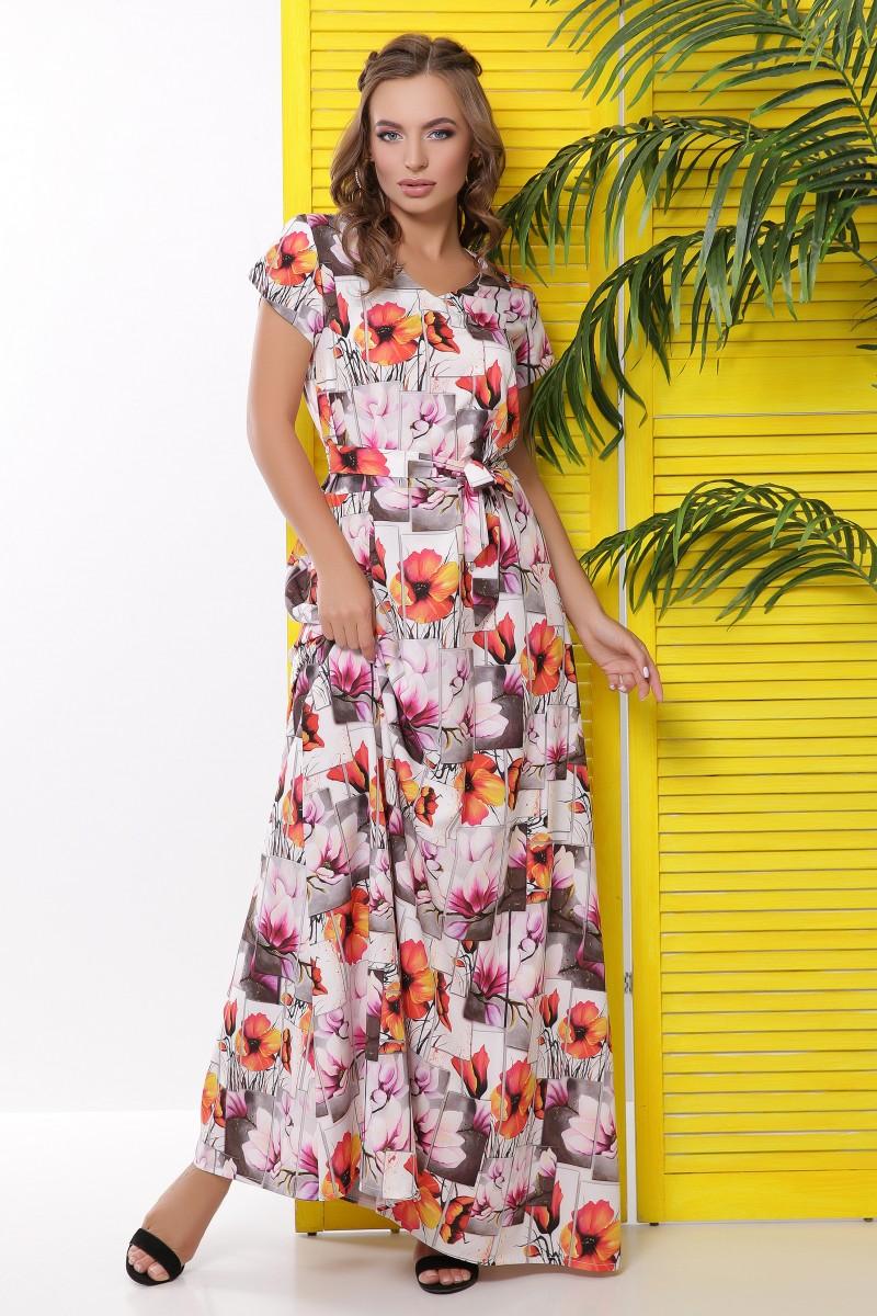 Длинное летнее платье в пол с коротким рукавом и поясом