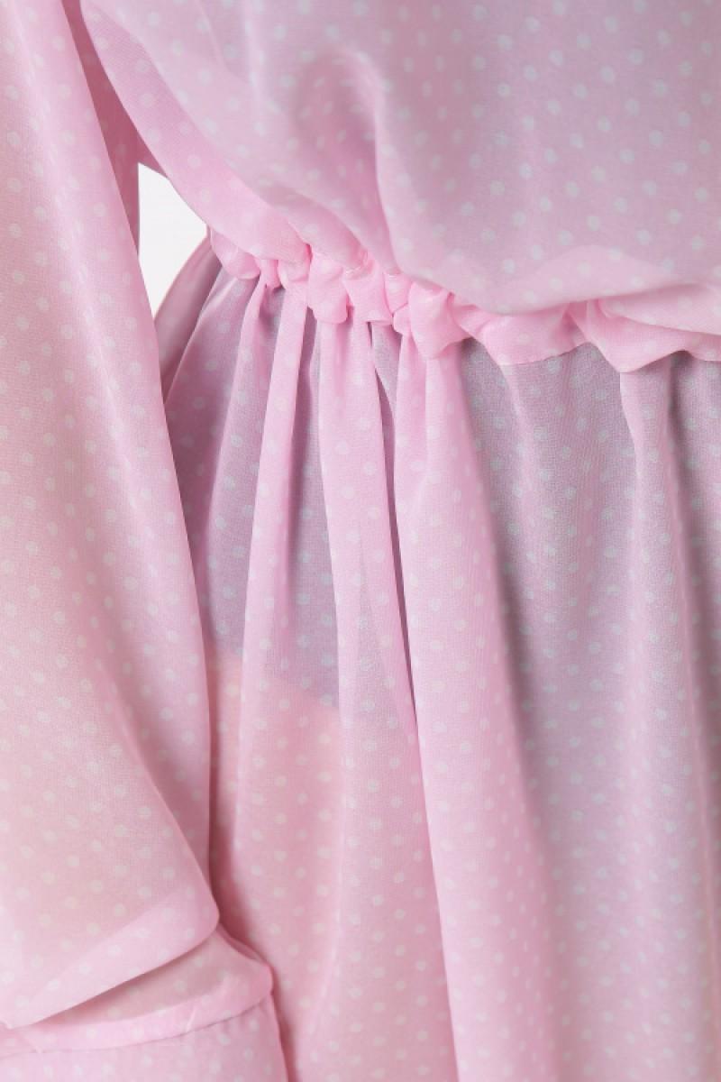 Пляжная длинная шифоновая туника накидка розовая