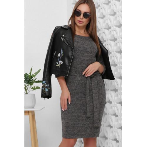 Сукня жіноча тепла пряма з поясом сірого кольору