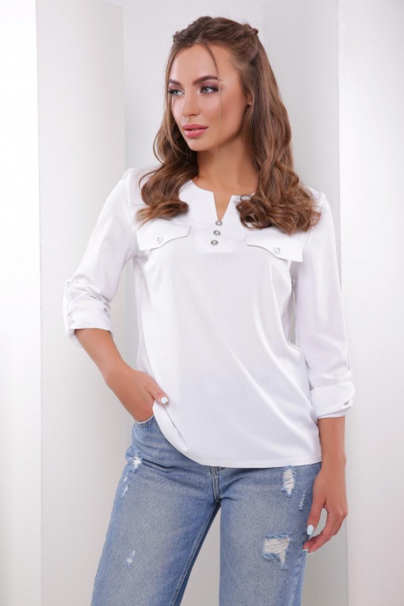 Жіноча блузка сорочка з хлястиком на рукавах біла