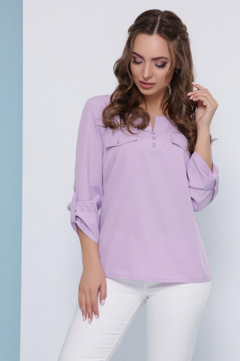 Жіноча блузка сорочка з хлястиком на рукавах бузкова