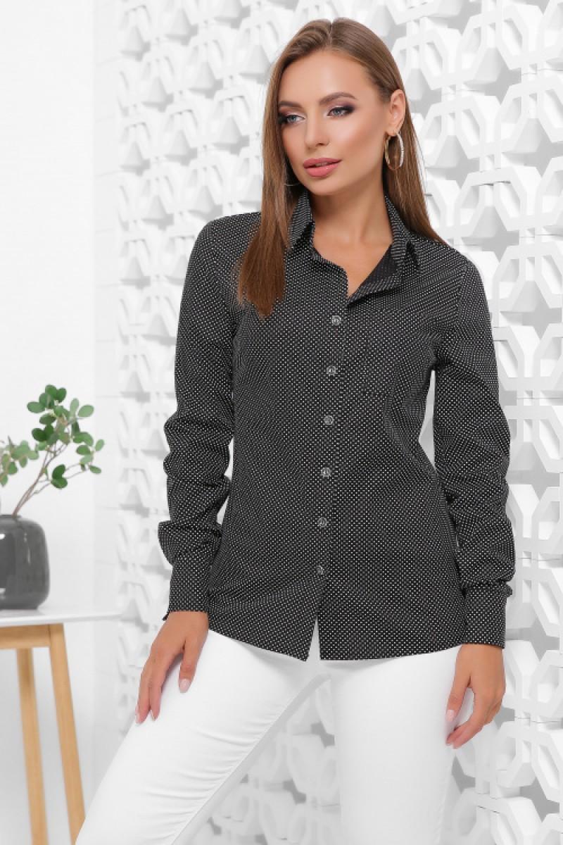 Жіноча класична бавовняна сорочка в горох чорна