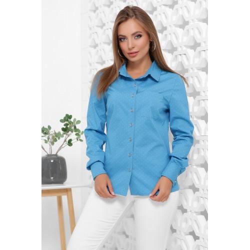 Жіноча класична бавовняна сорочка в горох бірюзова
