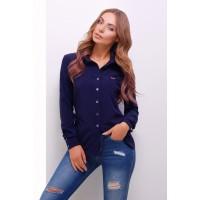 Жіноча стильна сорочка з довгим рукавом в стилі кежуал синя