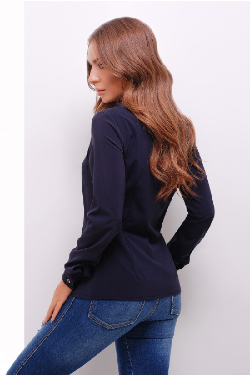 Жіноча стильна сорочка з довгим рукавом в стилі кежуал темно-синя