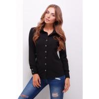 Жіноча стильна сорочка з довгим рукавом в стилі кежуал чорна