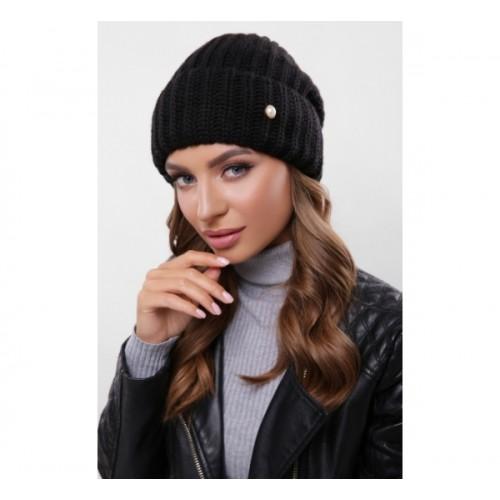 Жіноча шапка на флісі з отворотом чорна