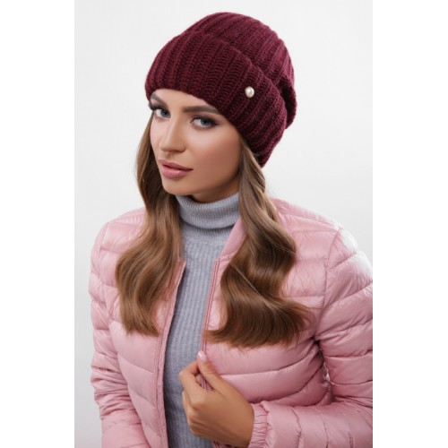 Жіноча шапка на флісі з отворотом марсала