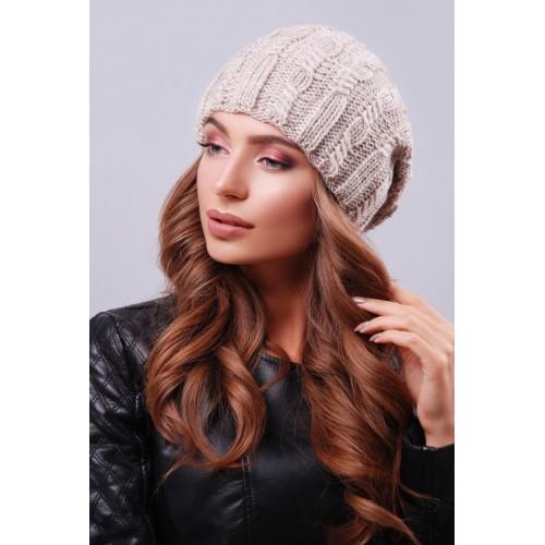 Модна жіноча шапка біні з візерунками кольору фрез