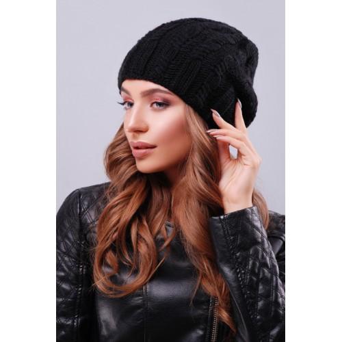 Модна жіноча шапка біні з візерунками чорного кольору