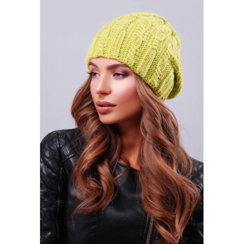 Модна жіноча шапка біні з візерунками кольору фісташка