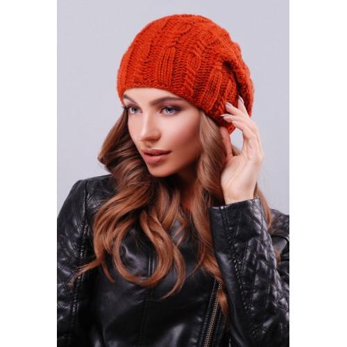 Модна жіноча шапка біні з візерунками кольору терракот