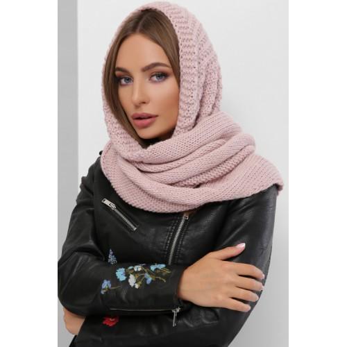 Жіночий шарф косинка Шарф-бактус в'язаний пудровий
