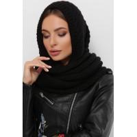 Жіночий шарф косинка Шарф-бактус в'язаний чорного кольору