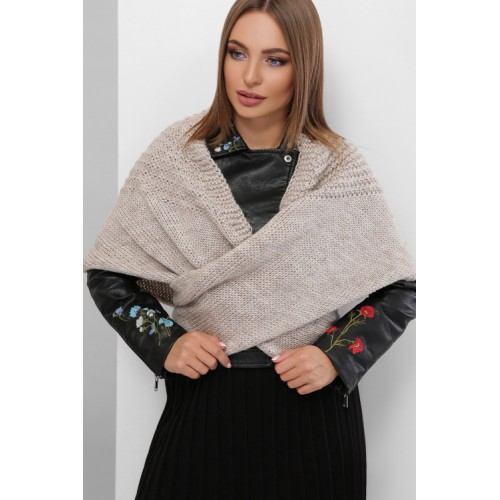 Жіночий шарф косинка Шарф-бактус в'язаний кольору капучино