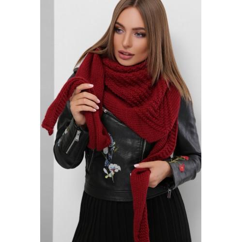Жіночий шарф косинка Шарф-бактус в'язаний кольору бордо
