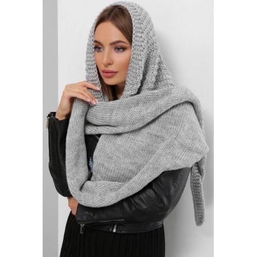 Жіночий шарф косинка Шарф-бактус в'язаний сірого кольору
