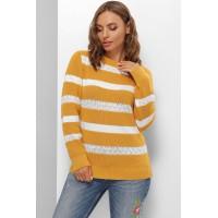 Гарний светр жіночий з мереживом гірчичний