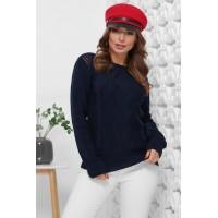 В'язаний жіночий светр прямого силуету з вирізом лодочка синій