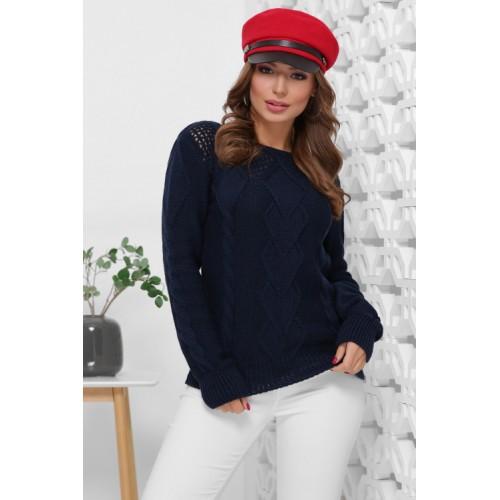 Вязаный женский свитер прямого силуэта с вырезом лодочка синий