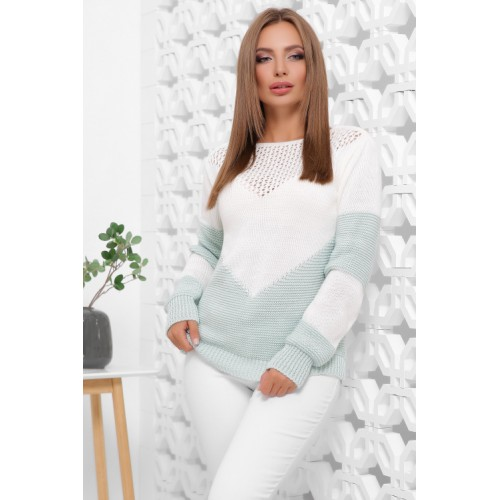 Нарядний светр жіночий в'язаний двоколірний білий мятний