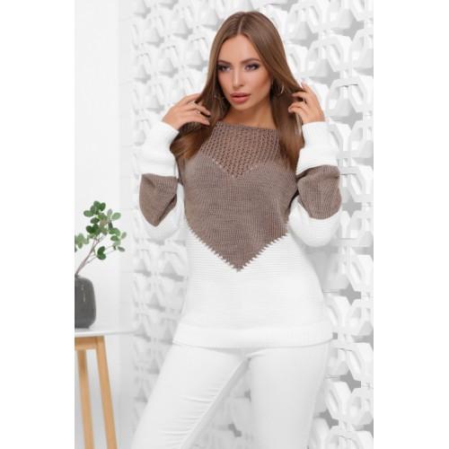 Нарядний светр жіночий в'язаний двоколірний кофе-молоко
