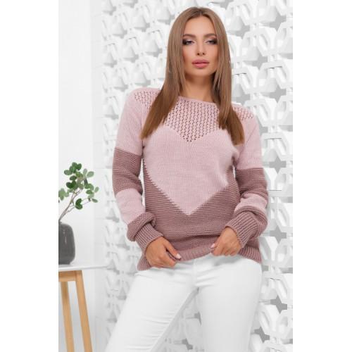 Нарядний светр жіночий в'язаний двоколірний пудра-фрез