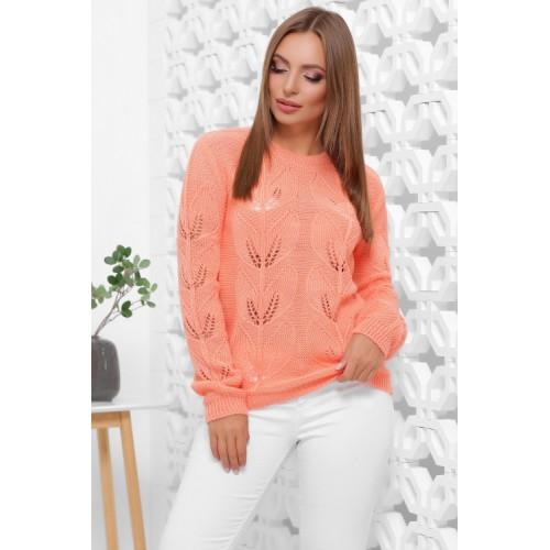 В'язаний жіночий светр прямого силуету персикового кольору