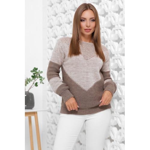Нарядний светр жіночий в'язаний двоколірний капучино-кофе