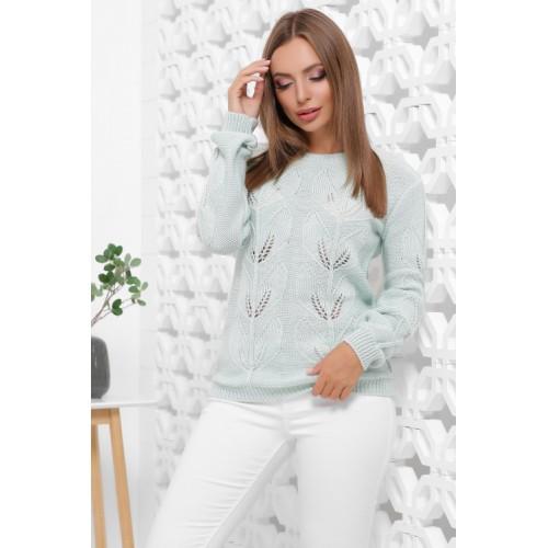 В'язаний жіночий светр прямого силуету м'ятного кольору