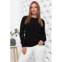 В'язаний жіночий светр прямого силуету чорного кольору