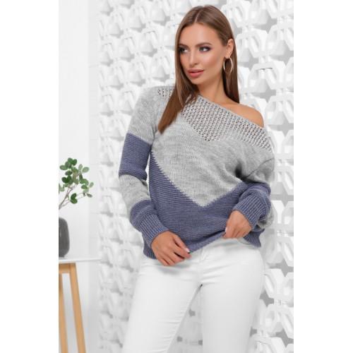 Нарядний светр жіночий в'язаний двоколірний сірий джинсовий