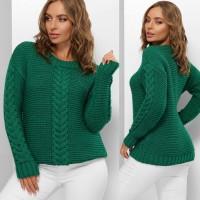 Гарний светр жіночий смарагдового кольору з косами