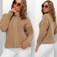 Гарний светр жіночий бежевого кольору з косами