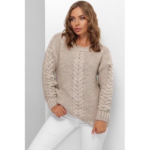 Гарний светр жіночий кольору капучино з косами