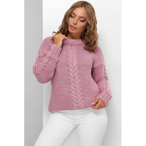 Гарний светр жіночий бузкового кольору з косами