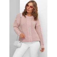 Гарний светр жіночий кольору пудра з косами