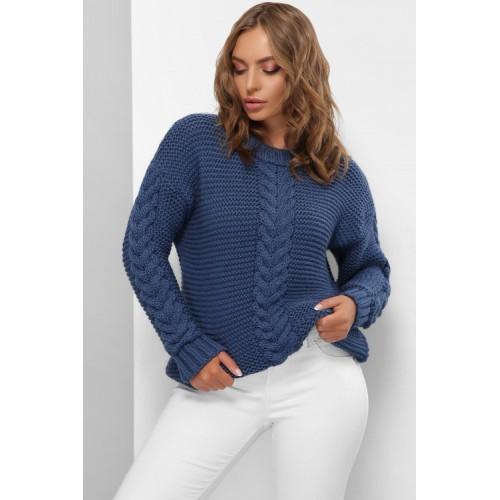 Гарний светр жіночий синього кольору з косами
